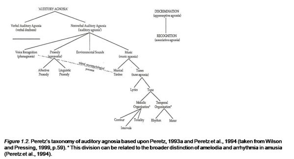 Peretz's taxonomy of auditory agnosia based upon Peretz, 1993a and Peretz et al., 1994 
